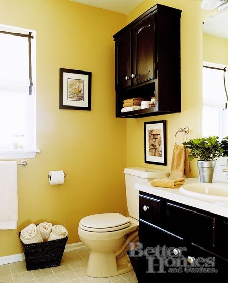 Love the black with the yellow this looks about the size for Yellow and black bathroom ideas