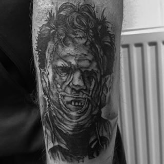 Quick little Leatherface tattoo I did last weekend ...
