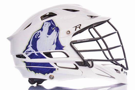 Howling Wolf Exterme Oversized Lacrosse Helmet Decal On A Cascade - Lacrosse helmet decals