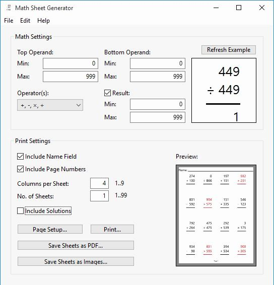 Math Worksheet Maker