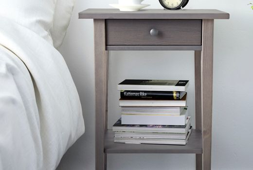 Guest Bedroom Solid Wood Hemnes Nighstand In White Stain Side