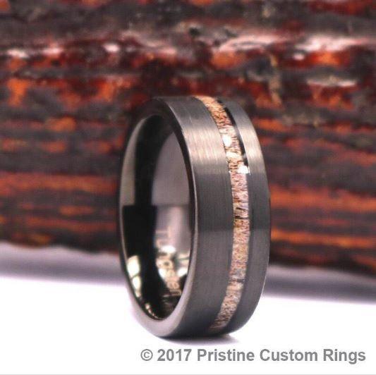 Nyx Black Ceramic Rose Wood Grain Inlay Wedding Ring
