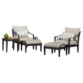 Gather guests for cocktails on your patio or enjoy an afternoon around the pool with this classic indoor/outdoor seating group set. This stylish collection features 2 arm chairs and 2 ottomans with aluminum frames and slate-hued cushions, while the complementing side table offers the perfect spot to rest a tray of canapes or your latest read.  Product: 2 Chairs, 2 ottomans and 1 side tableConstruction Material: Cast aluminum and fabricColor: Slate and charcoalFeatures:  Diamond-shaped ...