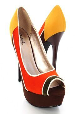$15.99 colorblock peep toe pumps in 70s orange, mustard, and brown