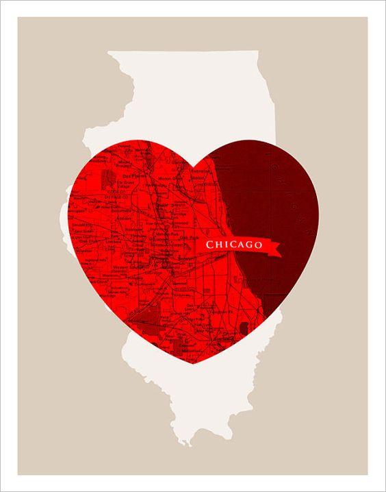 City Love-  Chicago Heart print