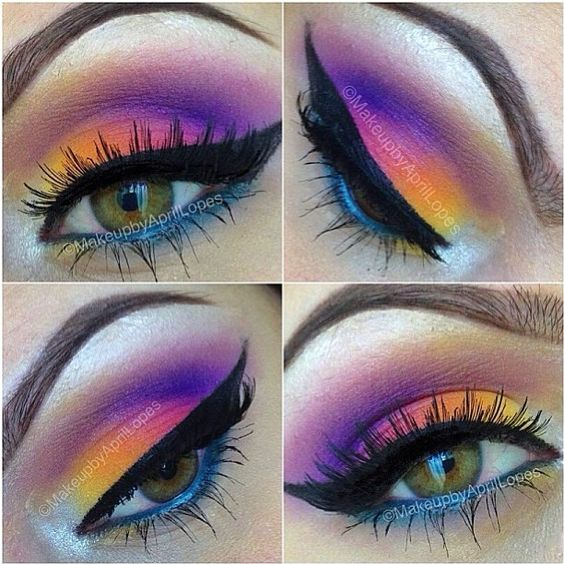 Like a serene sunset! Pipsqueeak used Sugarpill, BFTE and MakeupForever eyeshadows to create this gorgeous look. Looks so amazing with her eye color!