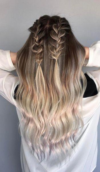 Tranças duplas até a metade dos cabelos também pode deixar o penteado semi-preso mais despojado e moderno (Foto: Instagram @styledby_lexie)