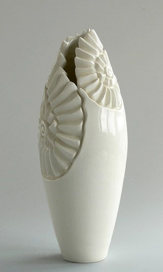 Ceramics by Ailsa Nicholson at Studiopottery.co.uk - 2012. Ammonite Vases, Wheel thrown and carved freehand, 1220c Height 26cm.: