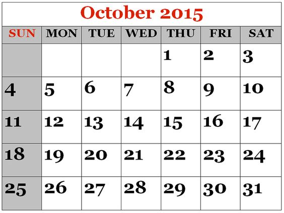 Free Download 2015 October Calendar Printable Pictures, Images - fiscal calendar