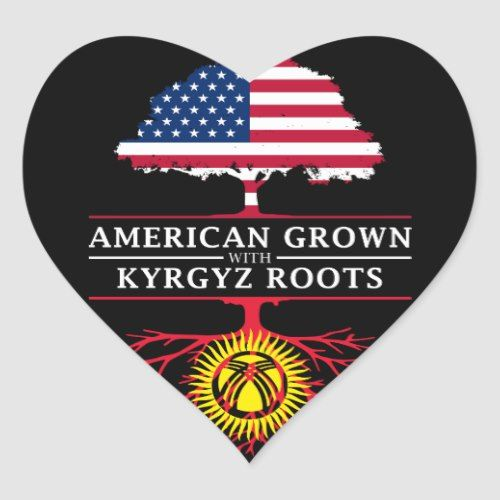 American Grown With Kyrgyz Roots Kyrgyzstan Heart Sticker Heart Stickers American Stickers Personalized Custom