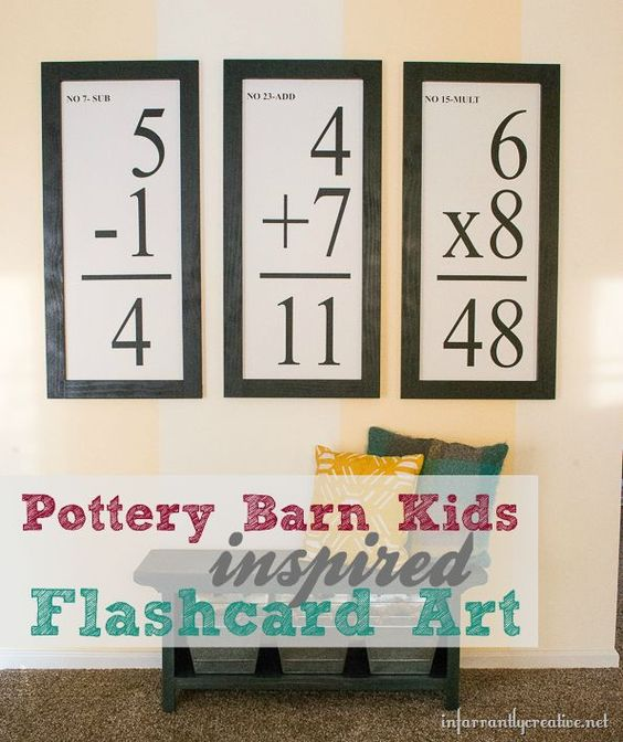 DIY Wall Art | Pottery Barn Kids knockoff flashcards