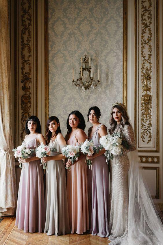 Mismatched patterned bridemsaid dresses