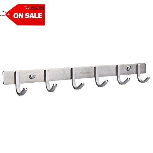 Homeideas 17 Inch Coat Hook Sus304 Stainless Steel Wall Mounted Bath Towel Hook Rack With 6 Heavy Duty Hooks Brushed Finish