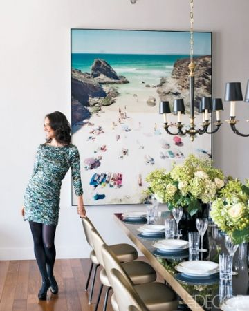 a large scale beach photo - just what I need in the living room/dining nook space!