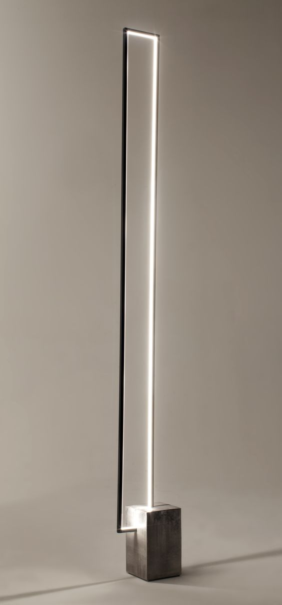The Mire : a floor lamp with a clear LED light strip inside a rectangular metal frame. LED floor lamp MIRÉ LT - CINIER Radiateurs Contemporains (PSCBath):