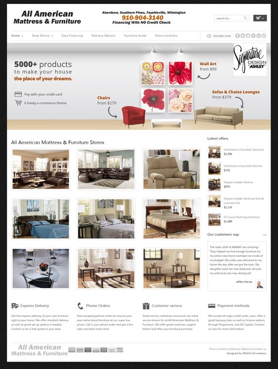 New Shopping Cart Site For All American Mattress U0026 Furniture Of Aberdeen NC  | Website Designs | Pinterest | Search Engine Marketing, Search Engine ...
