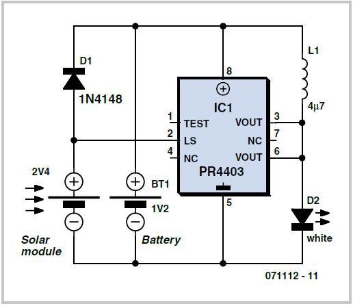 Solar Lamp Using The Pr4403 Schematic Circuit Diagram In 2020 Circuit Diagram Solar Lamp Solar Battery