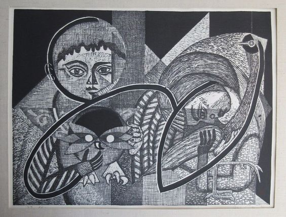 JUNICHIRO SEKINO (b.1914) LARGE MID CENTURY JAPANESE MODERNISM CUBISM WOODBLOCK #Cubism