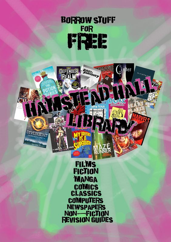 Photoshop poster to make the library look really RADICAL!!!! Colour scheme and general design was ripped off from a Suicide Squad Poster, but I'm hoping no one figures that out...