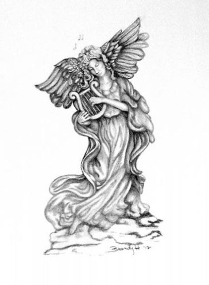 A Pencil Drawing Of A Statue Angel The Original Is 8 X 10