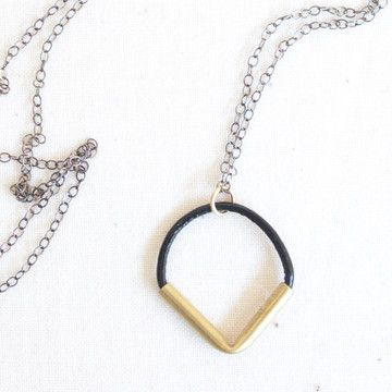 Point Down Necklace Black now featured on Fab by Sol del Sur. Sterling, brass and leather.