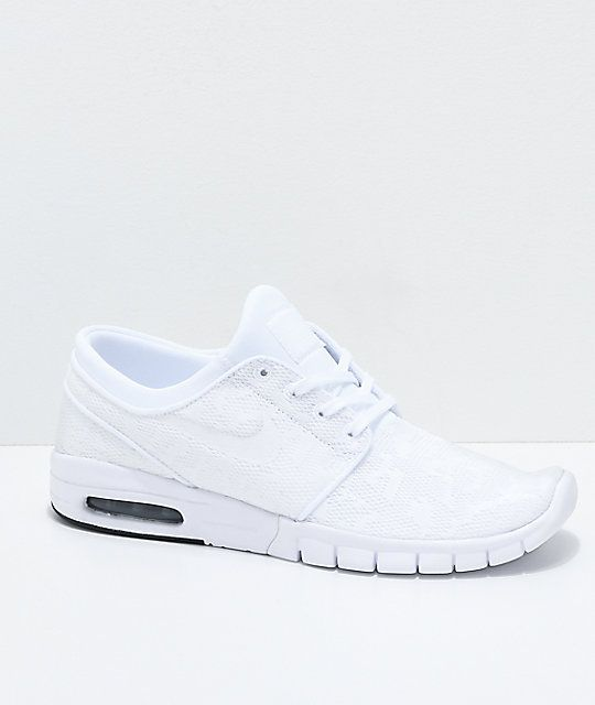 Nike SB Janoski Air Max All White Skate Shoes | Nike sb ...