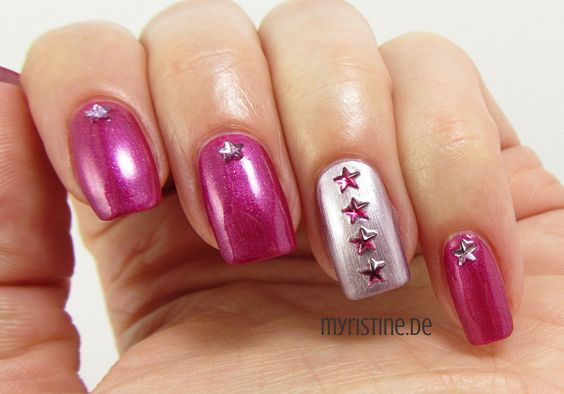 Pink Starry Nails mit Rock It! (P2, Color Victim Nail Polish)