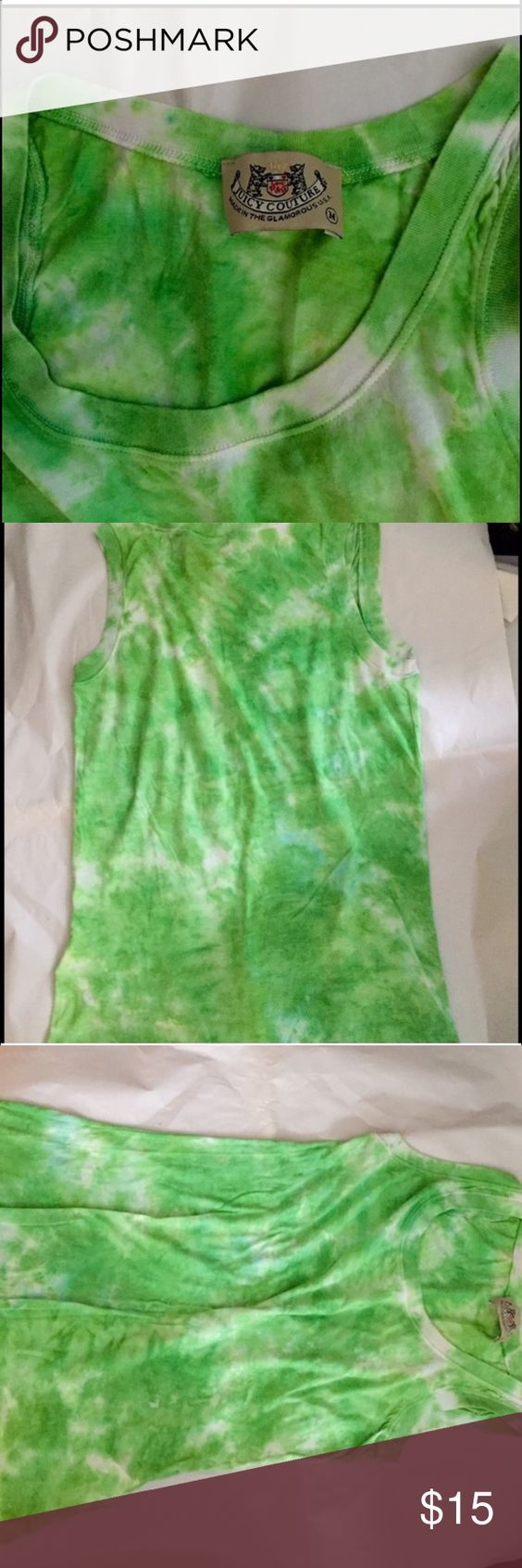 Juicy Couture, Tye-Dye, Sleeve-Less, Fun Top! This Top is in Excellent Condition, not sure if i ever even wore it...oopsies! Authentic Juicy Couture, Green, White, & a bit of Blue Tye-Dyed, Light-Weight, Sleeveless, Tank. Size Medium- would also fit a Size Small Perfectly! Very Versatile! Wear with Jeans or Shorts to Just hang out, pair with a Blazer& Slacks to Brighten up a work outfit! Wear it 2 the Beach,over a Bathing-Suit, to workout at the Gym, out to eat-Literally Anywhere! Great Top…