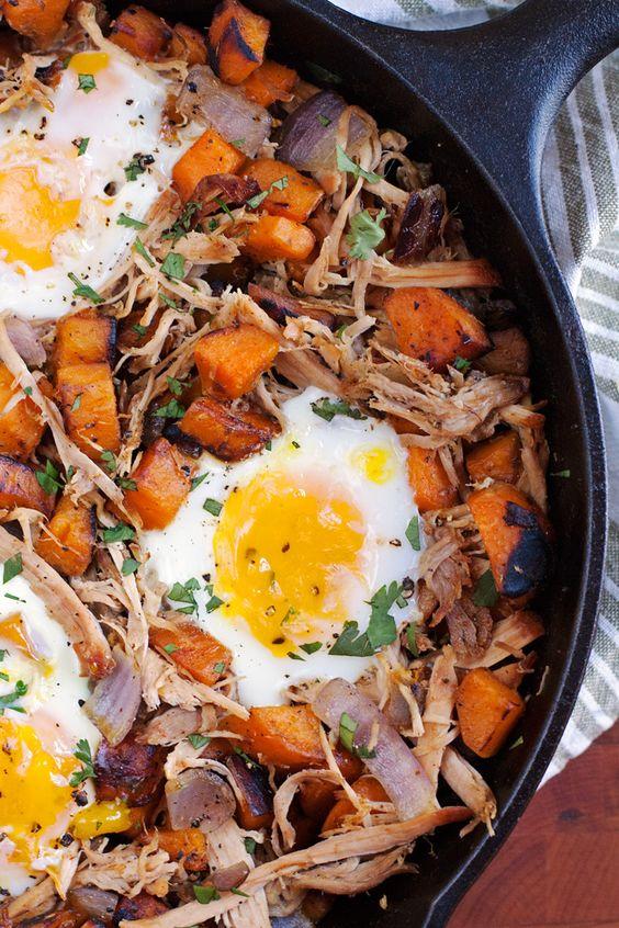 tasty breakfast // pulled pork sweet potato hash with eggs