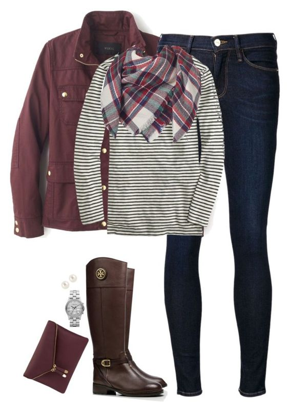 """Blanket scarf, stripes & burgundy"" by steffiestaffie ❤ liked on Polyvore featuring J.Crew, Frame Denim, Apt. 9, Tory Burch, Henri Bendel and Marc by Marc Jacobs"