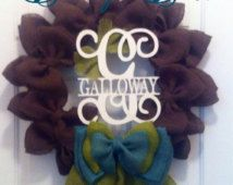 Chocolate brown wreath with initial