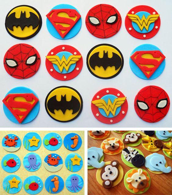 Toppers de fondant para los cupcakes de una fiesta de Superhéroes
