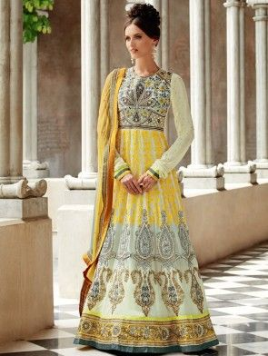 Off White And Yellow Georgette Anarkali Suit With Resham And Zari Embroidery Work
