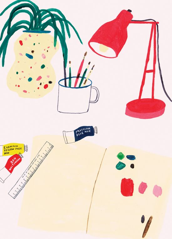 illustration of an artists desk with a plant, cup of pencils, a lamp, and art work in progress by Charlotte Trounce.