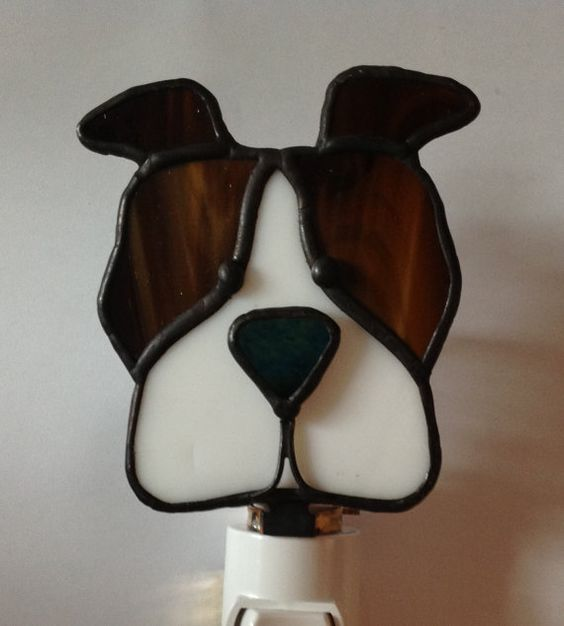 Pit Bull Stained Glass Night Light by glasssmarts on Etsy, $20.00
