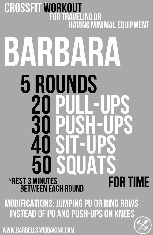 CrossFit Workout for Traveling or Having Minimal Equipment   Barbara - Pull-ups, Push-ups, Sit-ups, Squats   www.getyourfittog... #exercise #fitness #workout