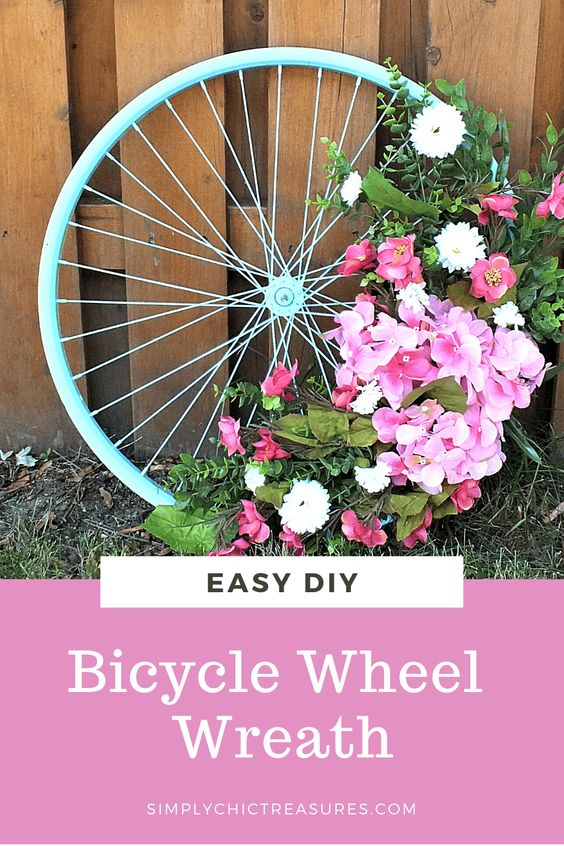 Make an Upcycled Bicycle Wheel Wreath - Simply Chic Treasures