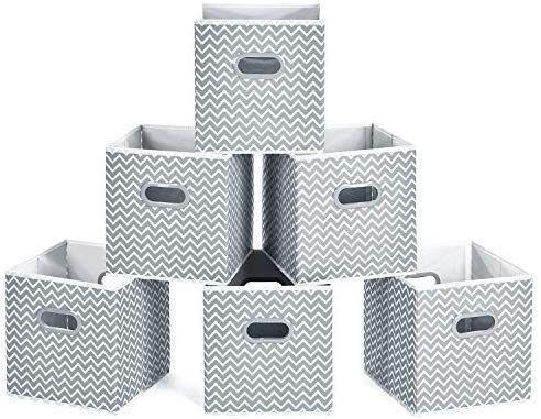 Maidmax Cloth Storage Bins Cube Organizer Bins Foldable Storage Cubes Baskets With Dual Plastic Handles Fo Cube Organizer Bins Cube Storage Bins Cube Storage