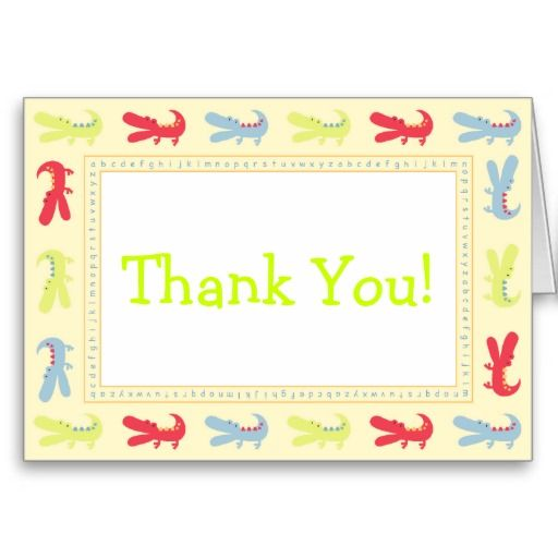 Festive Baby Mod Alligator Thank You Cards