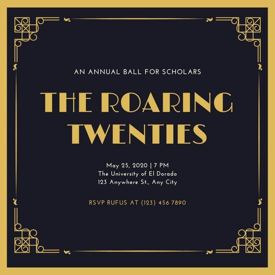 1920s Party Invitation Template Free New Roaring 20 S Invitation Gold Glitter 1920s Party Invitations Party Invite Template Christmas Party Invitation Template