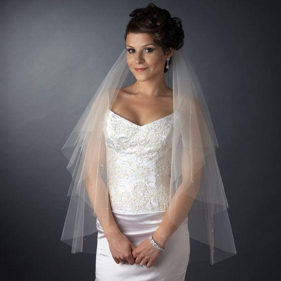 Two Layer Fingertip Length Wedding Veil with Scattered Crystals - Affordable Elegance Bridal
