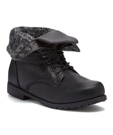 Another great find on #zulily! Black Sweater Knit Cuff Combat Boot #zulilyfinds