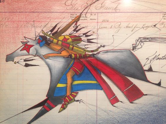 Ledger art by Donald Montileaux on display in the Center for Western Studies.