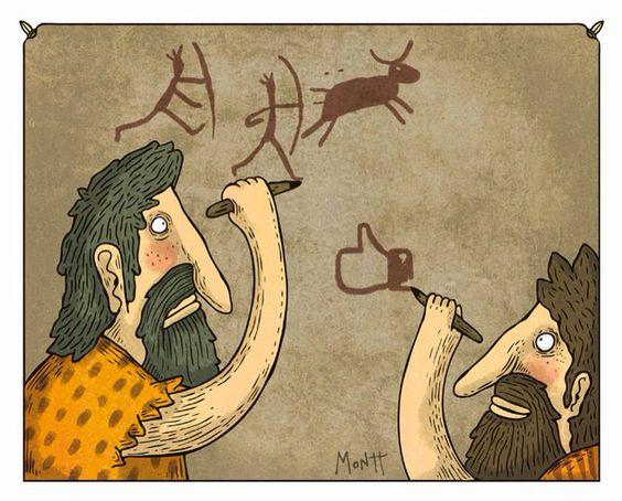 Humor gráfico: likes, muros y prehistoria. Según #Montt. #antropología