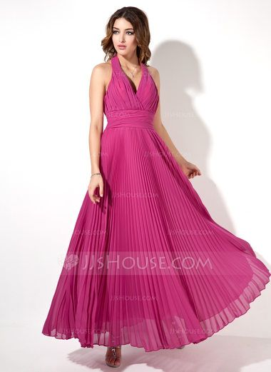 A-Line/Princess Halter Ankle-Length Chiffon Evening Dress With Pleated (017022526) - JJsHouse