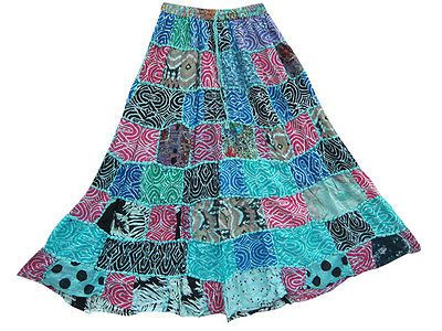 BOHO LONG MAXI SKIRTS BLUE FLORAL PRINT HIPPIE GYPSY RAYON PATCHWORK SKIRTS 37""
