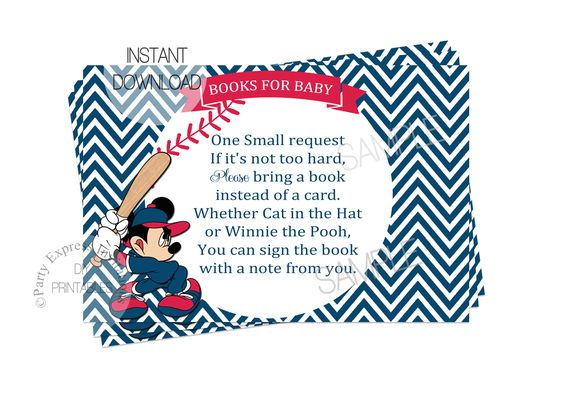 partyexpressinvitations - Mickey Baseball Book Insert Card for Baby Shower, $4.00 (http://www.partyexpressinvitations.com/mickey-baseball-book-insert-card-for-baby-shower/)