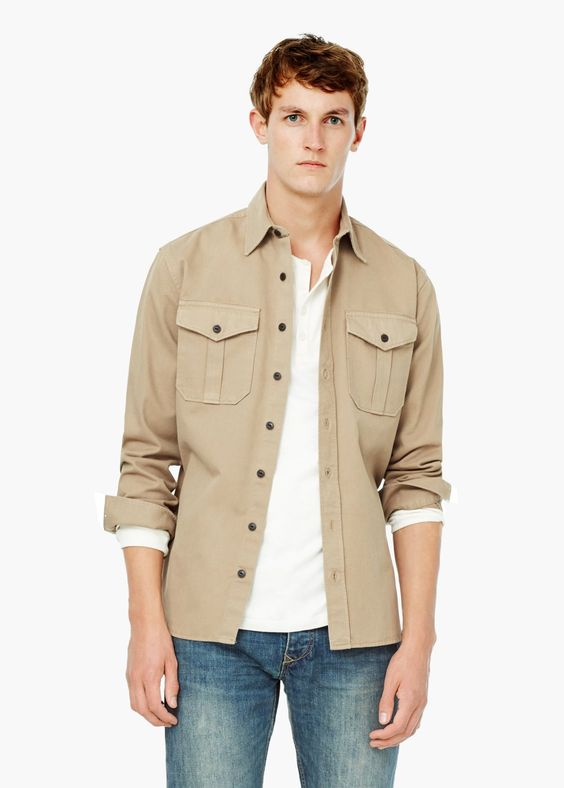 Classic-fit pockets twill overshirt | MANGO MAN