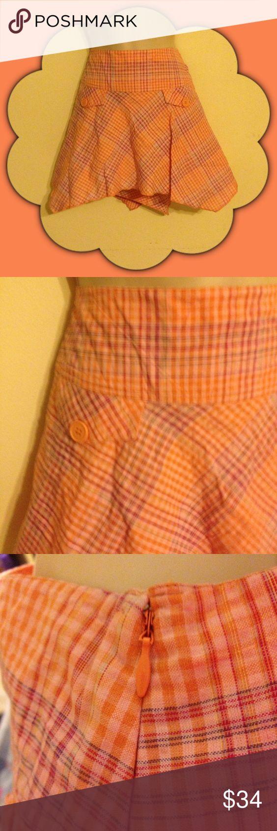 Billabong Orange w/Stripes Astmetrical Skirt Sz 7 Side zipper closure mock front pockets has pink purple and green stripe accent Billabong Skirts Asymmetrical