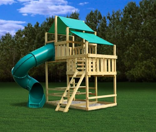 Plans for build your own playscape children 39 s play area for Diy kids fort plans